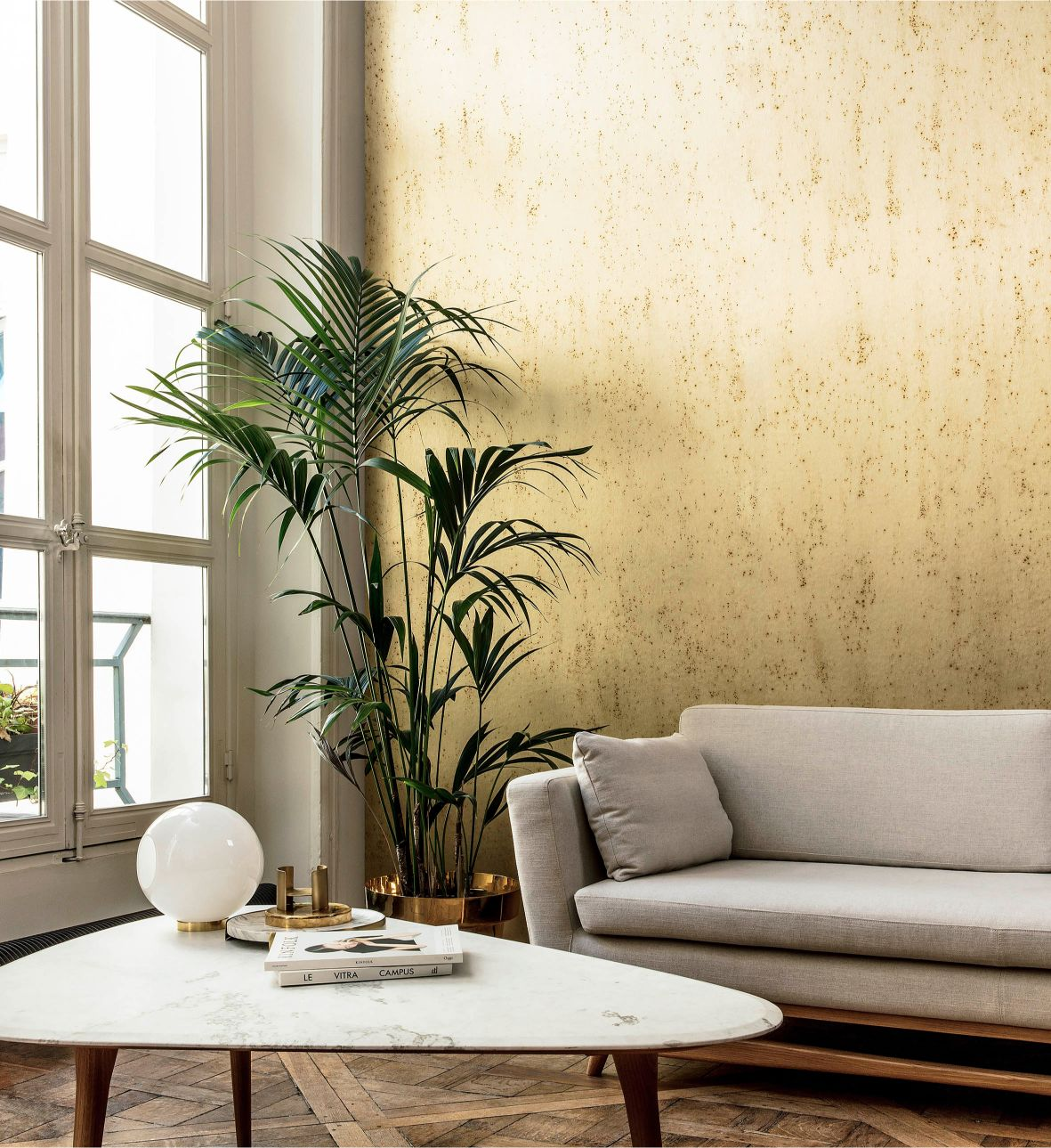 behang palm goud